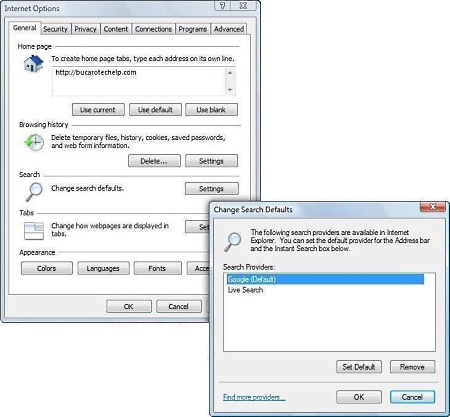 how to change search engine on internet explorer 11