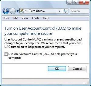Turn off annoying User Account Control pop-ups, but be careful